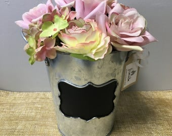 Pink Flower Arrangement in Rustic Vase