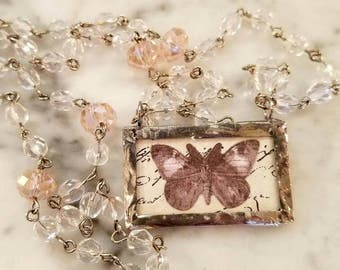 Butterfly Necklace / collage Necklace  /  silver soldered glass pendant / pink glass rosary Necklace / Birthday Gift  / Handmade Necklace