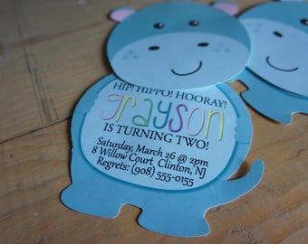 Hippo Hooray Slide-Up Invitation