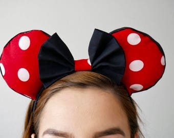 Classic Reverse Red and Black Minnie Mouse inspired Minnie Ears | Mickey Mouse Ears |