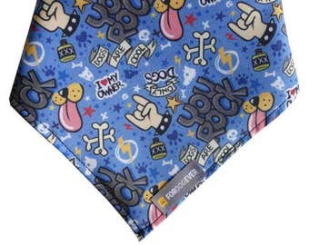 YOU ROCK Dog Bandana: Limited Edition Bandana. Blue. All sizes L, M, S. Unique Dog Scarf Made in Barcelona