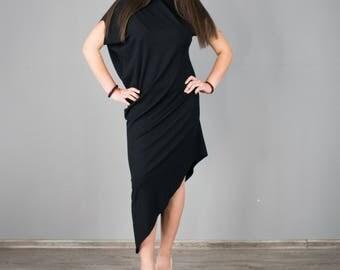 Black Dress / Simple black party dress / Asymmetric dress / Feminine dress / T050205