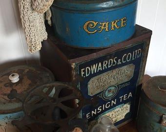 wonderful original old world charm large tea tin.