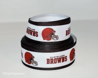 "Cleveland Browns 7/8"" Grosgrain Ribbon 3G"