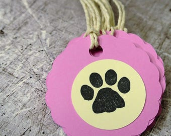 Dog Party Treat Bag Tags Set of 12 Pink and Cream with Paw Print