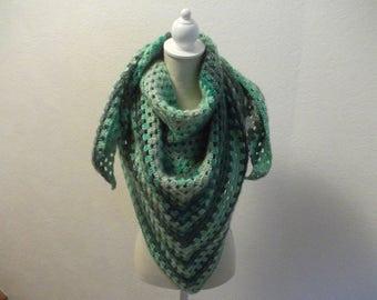 Gradient Green realized crochet shawl