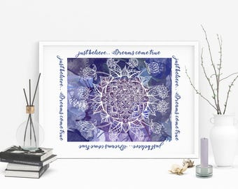 mandala wall art, watercolor mandala , Printable purple and blue Believe dreams come true mandala,mandala wall art quotes