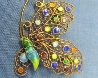 Gorgeous Detail ~ Vintage Sterling Silver Intricate Enamel and Stone Filigree Butterfly Brooch Pin