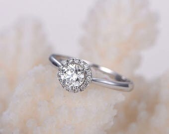 1 carat Round moissanite engagement ring with diamond in 14k white gold