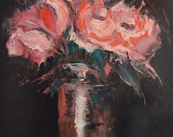 Oil Painting Pink Flowers original oil painting flowers on canvas