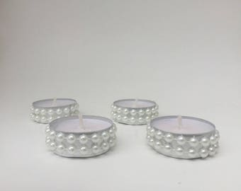 Set of 12 custom Pearl Tealights