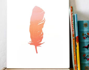 BOGO SALE Pink Feather Boho 11x14 Childrens Room Decor Baby Nursery Wall Art Print