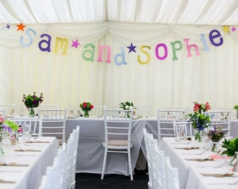 Large custom personalised paper garland banner - hand drawn letters - wedding decoration - happy birthday - hen party - baby shower -nursery