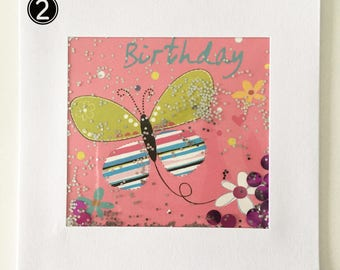 Butterfly  and glitter shaker Birthday card