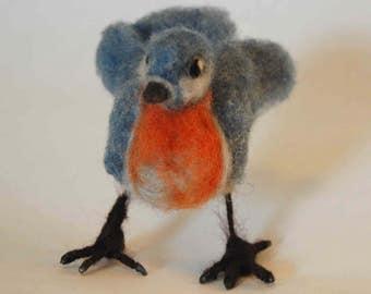 Bluebird, needle felted, handmade, wool