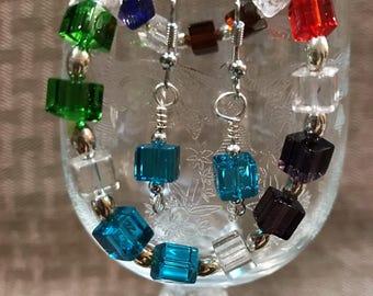 Multi colored bracelet and earrings