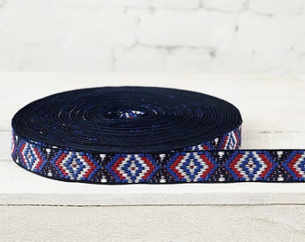 Ribbon trims ethnic pattern band colorful woven white blue red width 2, 5 cm