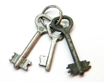 Vintage set of 3 Soviet keys..Old Keys.. Metal keys.. Soviet Keys.. Made in USSR.. Steampunk Style.. Rustic Decor. Skeleton keys.