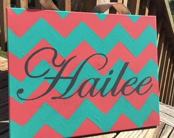 Chevron canvas with name