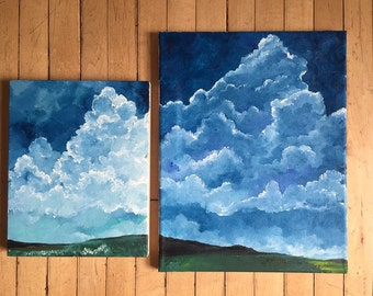"""Happy little clouds • 8x10"""" and 11x14"""""""