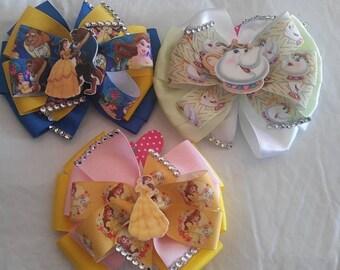 Beauty and the Beast 3 piece hair bow set