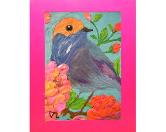 Bird,Original hand made,Nursery Art, Animal Drawings for kids, Fine Art, Wall Decor for the Bedroom,Home Decor, Mother's day, Baby shower.