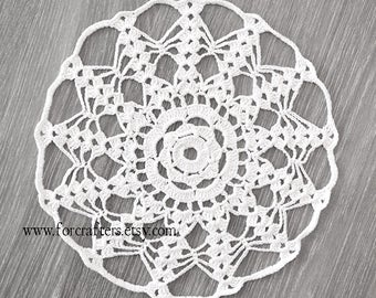 9 Inches doily white crochet doily lace cotton handmade doily vintage doily, doilies, white doilies doily