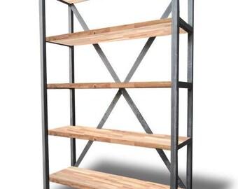 Solid Cross Frame Bookshelf/Shelving Unit - Bespoke, Handmade, Chic, Steel, Home Office