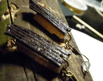 Leather and wood raw earrings STELLA