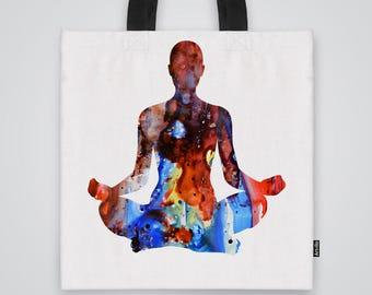 Meditation Tote  Bag Shoulder Bag Market Bag Art Print
