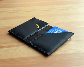 Leather Wallet Two-Fold Folio (Black on Black)