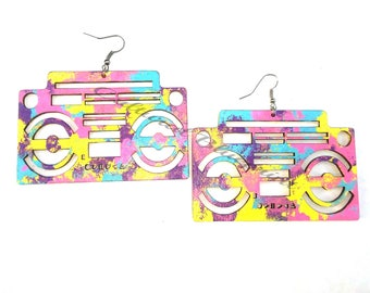 Large Boombox colorful earrings