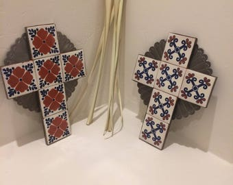 Large Spanish Colonial Style Punched ANTIQUED Tin Cross with Talavera Tile, Handmade
