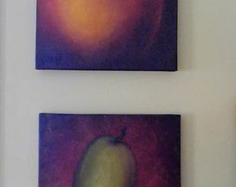Appel-Pear original oil painting on canvas