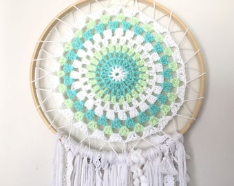 Turquoise/White Handcrocheted Dream Catcher