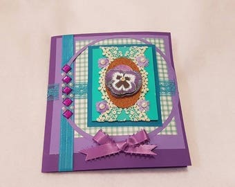 Purple, Pansy and Teal greeting card