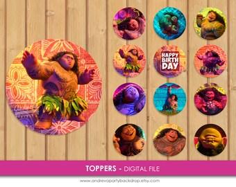 Moana Maui Cupcake Toppers, Moana Maui Toppers,  Moana Maui Party Decor, Moana Maui party, Moana Maui Cupcake Toppers, Moana Party, Maui