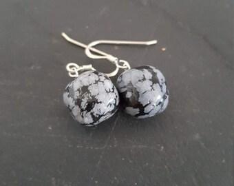 Handmade Snowflake Obsidian and Sterling silver Earrings