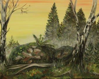 "Acrylic painting ""Morning"", Ready to hang, Wall art canvas art, wall decor"