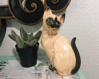 Vintage Ceramic Handmade Siamese Cat Statue, Kitschy Cat Decor