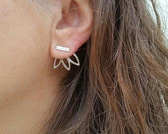 Flower Lotus Chic Bar Stud Earrings