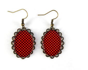 Earrings oval square black and Red