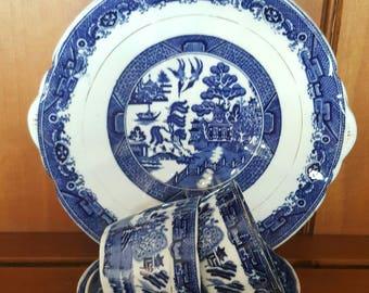 Beautiful art nouveau  blue willow tea for two set.