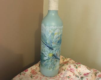 Dragonfly decoupage bottle