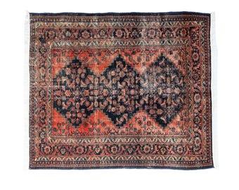 "Antique Distressed Persian Square rug 'Farideh' - 5'3""x6'2"""