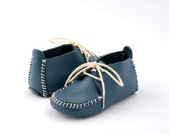 First Step Handmade Natural Leather Baby Shoe EUR 18 - 19 Blue