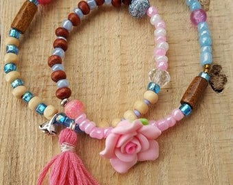 Winding bracelet, beads, tassel, colorful