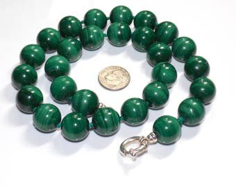 "12mm natural malachite knotted bead 16"" necklace with sterling silver clasp"