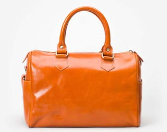 Minimalistic Orange Hand Bag in Highest Quality Leather with Removable Shoulder Strap - By Mayer
