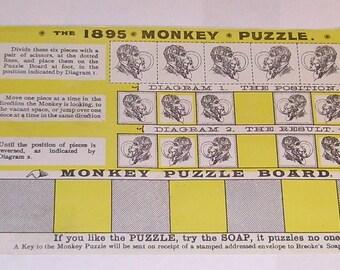 1895 Monkey Puzzle advertising magazine insert for Brooke's soap